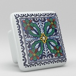 Blue Green Willow Floral Square Ceramic Knob
