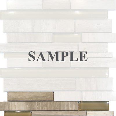 Sample White Oak Marble Gray Glass Blends Mosaic Tile