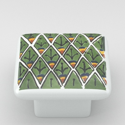 Peacock Feathers Pattern Square Ceramic Knob