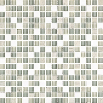 White Oak Marble Gray Glass Blends Mosaic Tile