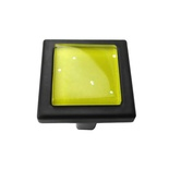 Yellow Iridescent Dots Crystal Glass Black Metal Square Manor Knob