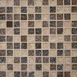 Tan Brown Crackle Glass Blends Mosaic Tile