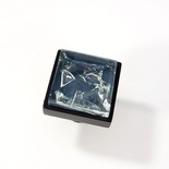 Blue Crackle Crystal Glass Black Metal Square Perception Knob