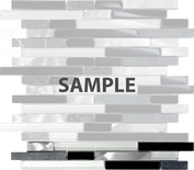 Sample Black Gray Glass Natural Stone Metal Blend Linear Mosaic Tile