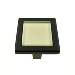 Iridescent Pearl Green Crystal Glass Black Metal Square Manor Knob