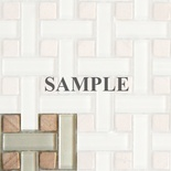 Sample Stone Beige Cream Glass Basket Weave Blends Mosaic Tile