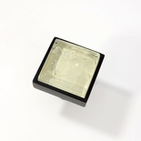 Beige Crackle Crystal Glass Black Metal Square Perception Knob