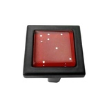 Red Iridescent Dots Crystal Glass Black Metal Square Manor Knob