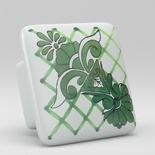 Green Leaf Floral Flower Square Ceramic Knob