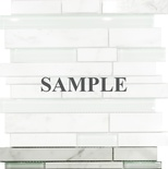 Sample Carrara White Marble Glass Blends Mosaic Tile