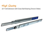 22 Inch Full Extension Soft Close Ball Bearing Drawer Slides Kitchen Cabinet