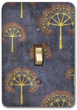 Blue Oriental Tree Pattern Metal Switch Plate Design 1