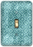 Blue Diamond Square Pattern Metal Switch Plate Design 3