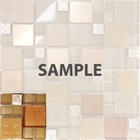 Sample Brown Metallic Floral Decor Insert Pattern Glass Blend Mosaic Tile