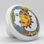 Moon Sun Talavera Design Ceramic Knob