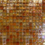 Golden Brown Orange Blends Iridescent Glass Mosaic Tile