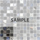 Sample Black Iridescent Floral Decor Insert Glass Stone Mosaic Tile