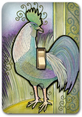 Blue Rooster French Animal Metal Switch Plate