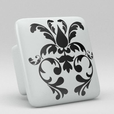 Black White Damask Square Ceramic Knob