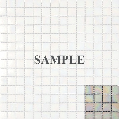 Sample Pearl White Iridescent Glass Mosaic Tile