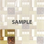 Sample Brown Copper Floral Decor Inserted Pattern Glass Stone Blend Mosaic Tile