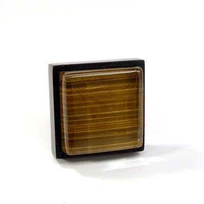 Brown Back Painted Crystal Glass Black Metal Square Perception Knob