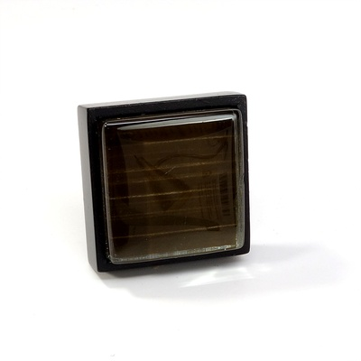 Brown Back Hand Paint Crystal Glass Black Metal Square Perception Knob