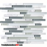 Carara Marble Gray White Glass Blends Mosaic Tile
