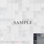 Sample Blue White Crackle Glass Blends Mosaic Tile