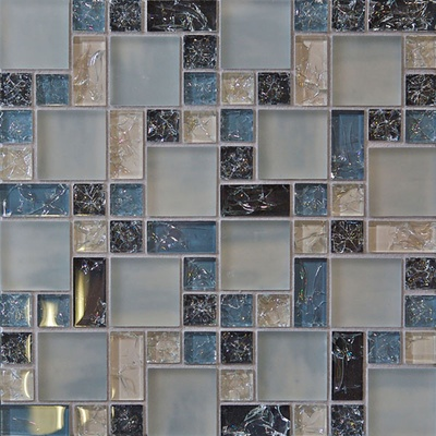 Blue White Crackle Glass Blends Mosaic Tile