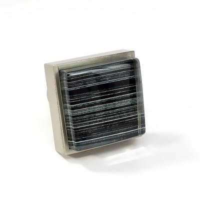 Black Back Hand Paint Crystal Glass Brushed Nickel Square Perception Knob