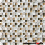 Tuscany Travertine Marble Stone Tan Glass Blends Mosaic Tile
