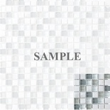 Sample Arabescato Carara Marble Gray White Glass Blends Mosaic Tile