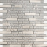 Pure White Crackle Glass Carrera Marble Blends Mosaic Tile
