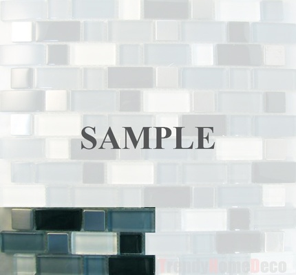 Sample Stainless Steel Pattern Black Blue Glass Blends Mosaic Tile