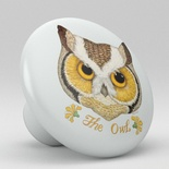 Owls Whimsical Ceramic Knob Design 1