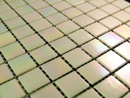Pearl White Iridescent Glass Mosaic Tile