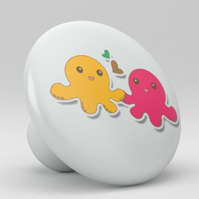 Cute Octopus Ceramic Knob Nursery