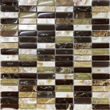 Brown Crackle Glass Mother Of Pearl Sea Shell Natural Stone Mosaic