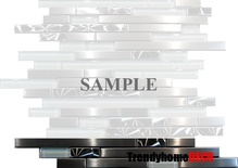 Sample Brushed Nickel Jeweling Stainless Steel Glass Blends Linear Mosaic Tile