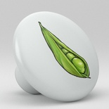 Sugar Snap Bean Vegetable Ceramic Knob