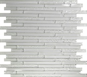 Pure White Glass Linear Mosaic Tile