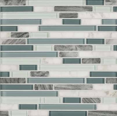 Marble Blue White Glass Blends Mosaic Tile