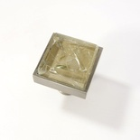Beige Tan Crackle Crystal Glass Brushed Nickel Square Perception Knob