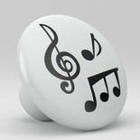 Music Notes Ceramic Knob