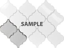 Sample White Porcelain Moroccan Pattern Mosaic Tile