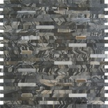 Black Gray Marble Stone And Metal Insert Blends Mosaic Tile