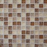 Brown Cream Crackle Glass Blends Mosaic Tile