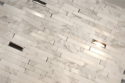 Carrara White Marble And Metal Insert Blends Mosaic Tile