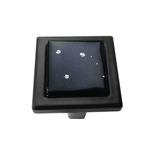Black Iridescent Mini Nova Crystal Glass Black Metal Square Manor Knob